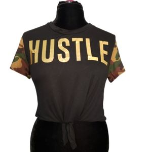 HUSTLE Graphic Crop T Shirt with Camo Sleeves